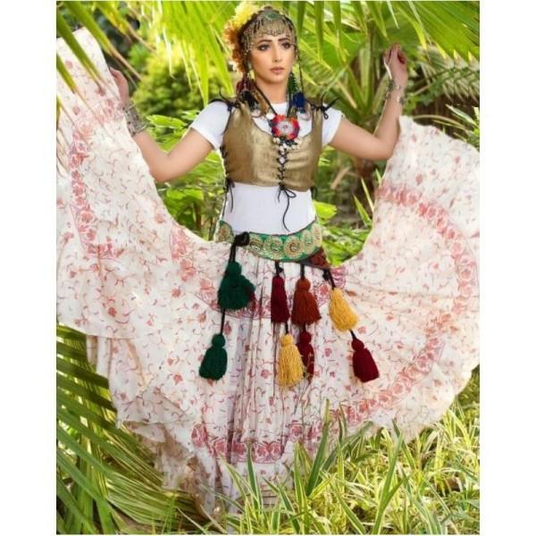 Skladem - orientální sukně Manara 23 metrů krémová