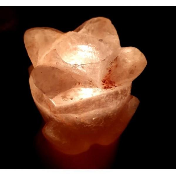 Solná lampa na jednu svíčku ve tvaru květu