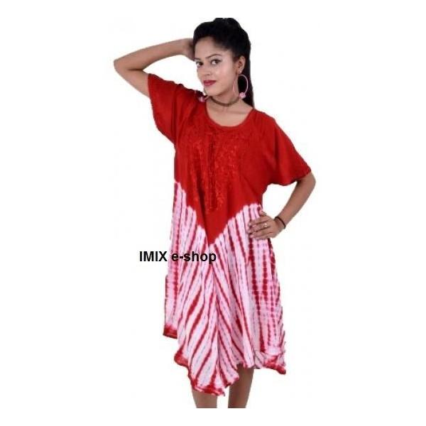 Letní batikované šaty s rukávem se šněrováním