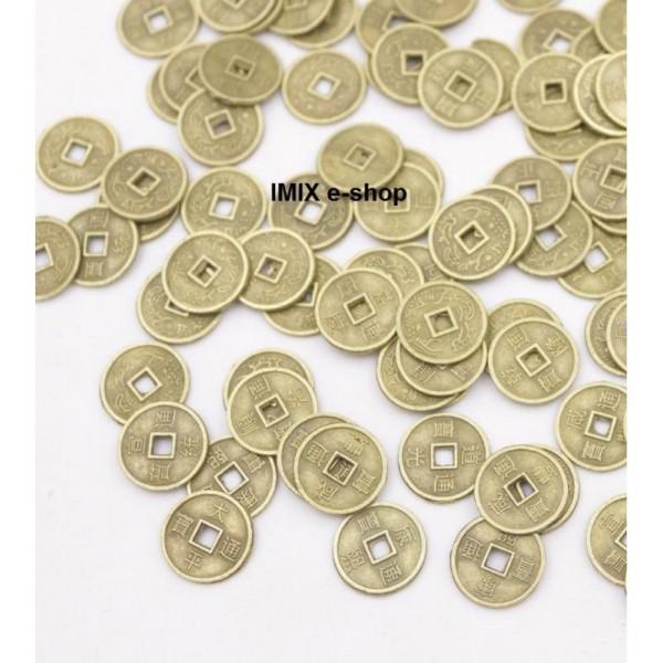 Čínské mince pro štěstí 10 mm - sáček 10 ks
