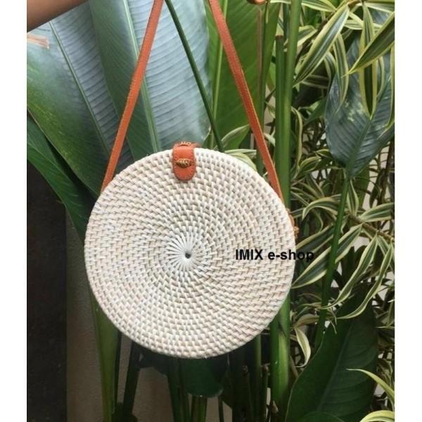 Ratanová kabelka Bali kruhová bílá s kůží