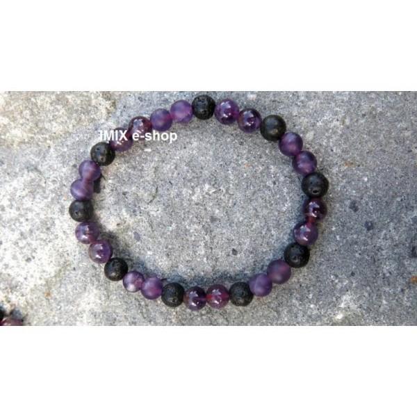 Náramek Lávové kameny + matný, lesklý Ametyst