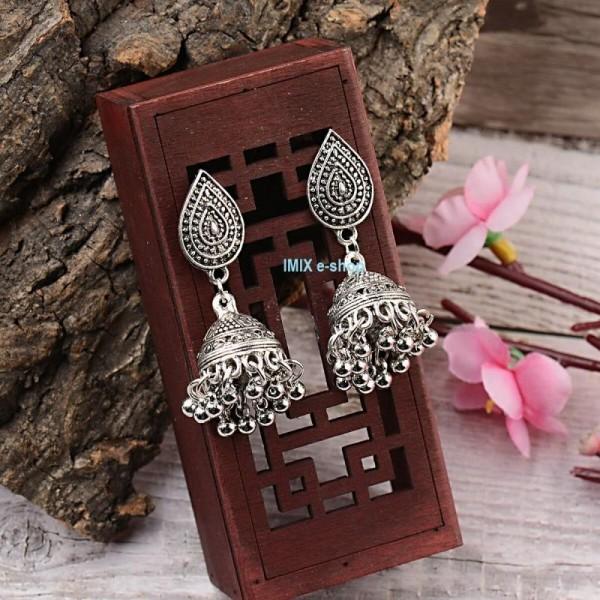 Náušnice Bollywood s patinou a zvonečkem č.BW03
