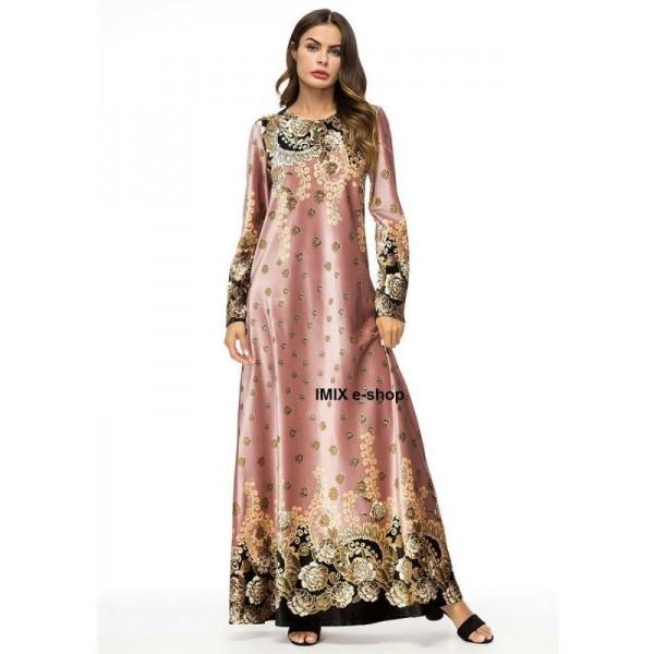 Orientální dlouhé šaty Abaya DUBAJ růžové