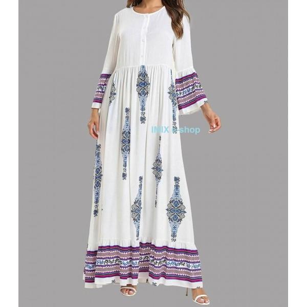Dlouhé Abaya etnické šaty s orientálním vzorem - Více barev
